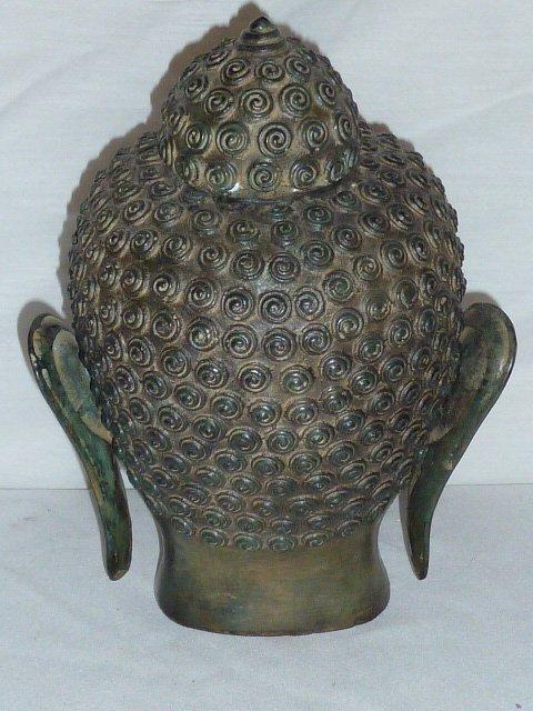BRONZE BUDDHA HEAD, HAS NICE COLOR - 4