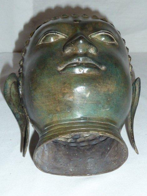 BRONZE BUDDHA HEAD, HAS NICE COLOR - 5