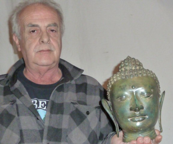BRONZE BUDDHA HEAD, HAS NICE COLOR - 6
