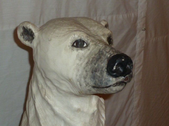 CARVED WOOD & PAINTED POLAR BEAR ON ICEBERG BASE