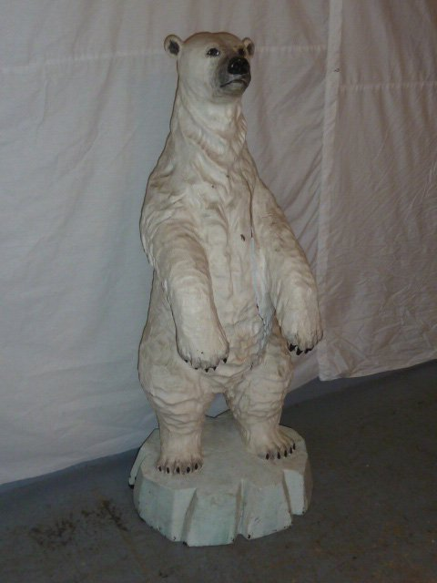 CARVED WOOD & PAINTED POLAR BEAR ON ICEBERG BASE - 2