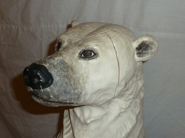 CARVED WOOD & PAINTED POLAR BEAR ON ICEBERG BASE - 3