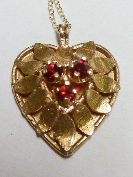 14KT GOLD & RUBIES HEART PENDANT 14KT GOLD CHAIN