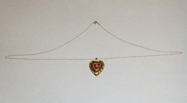 14KT GOLD & RUBIES HEART PENDANT 14KT GOLD CHAIN - 2