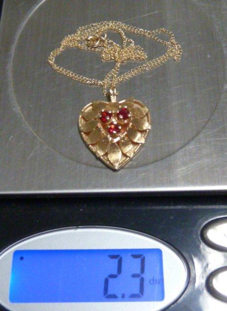 14KT GOLD & RUBIES HEART PENDANT 14KT GOLD CHAIN - 3
