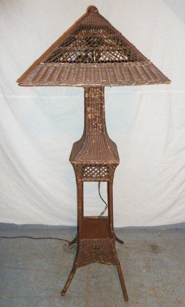 VINTAGE WICKER FLOOR LAMP ORIGINAL SHADE
