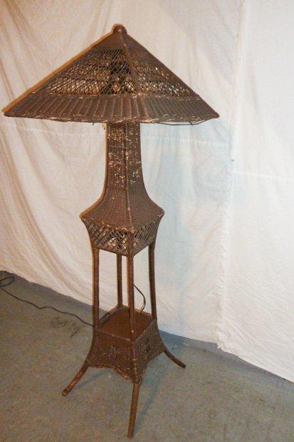 VINTAGE WICKER FLOOR LAMP ORIGINAL SHADE - 5