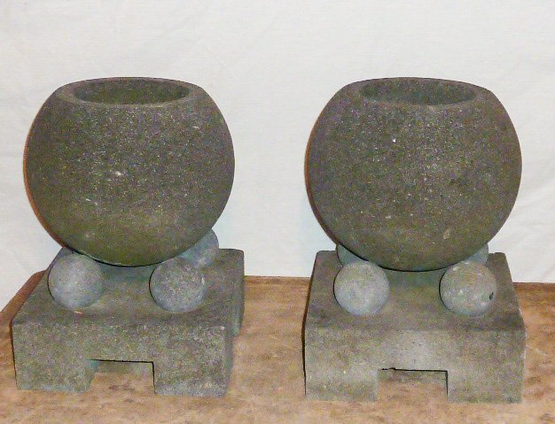 PAIR OF STONE , GARDEN ORNAMENTS , GEOMETRIC