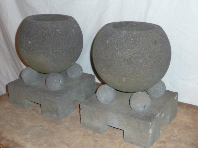 PAIR OF STONE , GARDEN ORNAMENTS , GEOMETRIC - 3