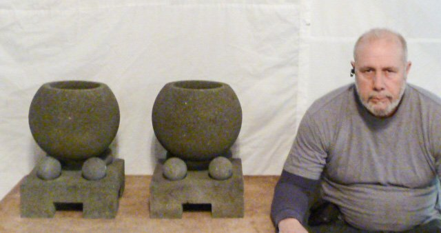 PAIR OF STONE , GARDEN ORNAMENTS , GEOMETRIC - 4