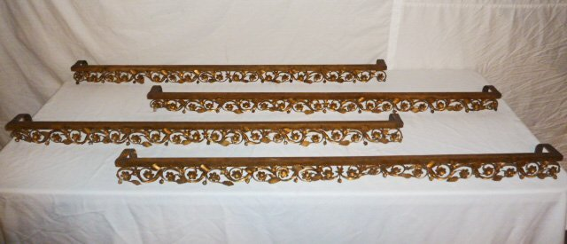 SET OF 4 ANTIQUE FRENCH GILT METAL WINDOW VALANCES - 2