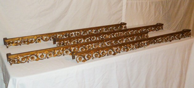 SET OF 4 ANTIQUE FRENCH GILT METAL WINDOW VALANCES - 3