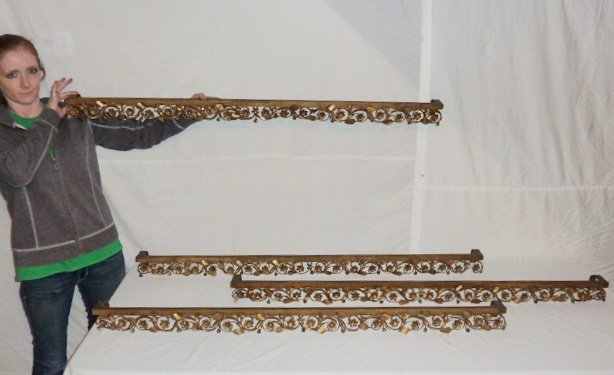 SET OF 4 ANTIQUE FRENCH GILT METAL WINDOW VALANCES - 4