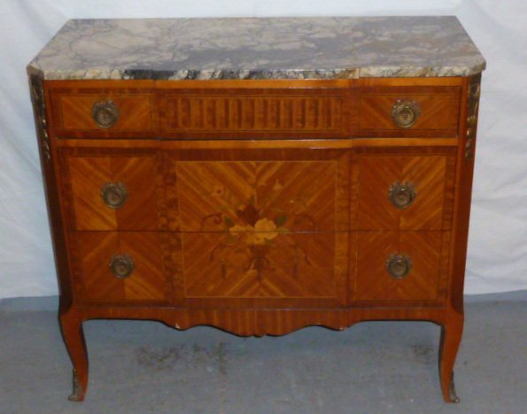 FRENCH MAHOGANY 3 DRAWER MARBLE TOP CHEST