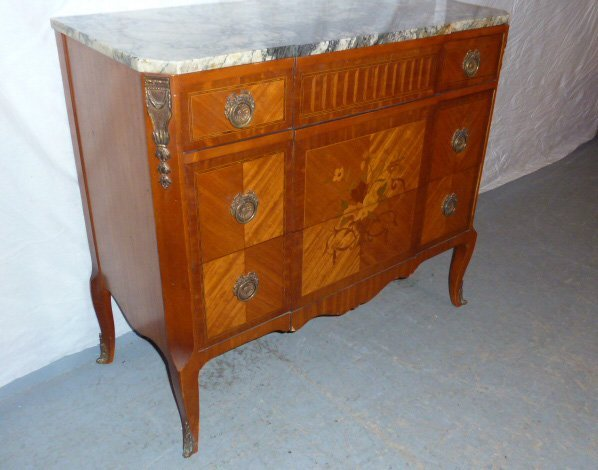 FRENCH MAHOGANY 3 DRAWER MARBLE TOP CHEST - 2