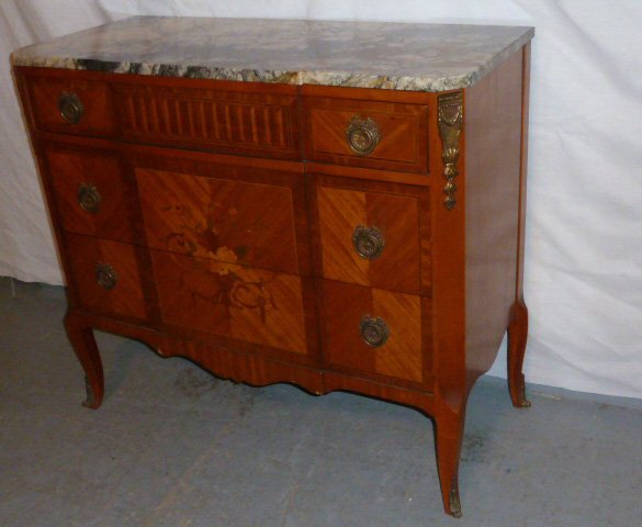 FRENCH MAHOGANY 3 DRAWER MARBLE TOP CHEST - 3