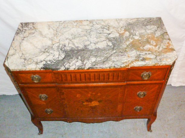 FRENCH MAHOGANY 3 DRAWER MARBLE TOP CHEST - 4