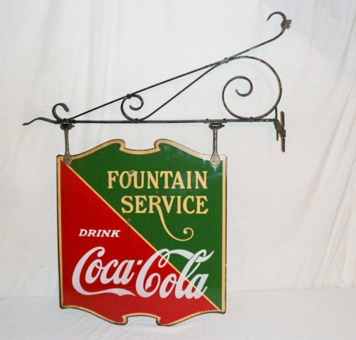 COCA-COLA 2 SIDED PORCELAIN FOUNTAIN SERVICE SIGN