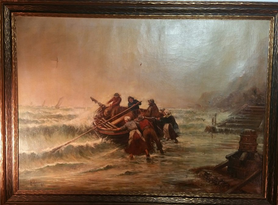 19th c Oil on Canvas Seascape by C.H. Rodney
