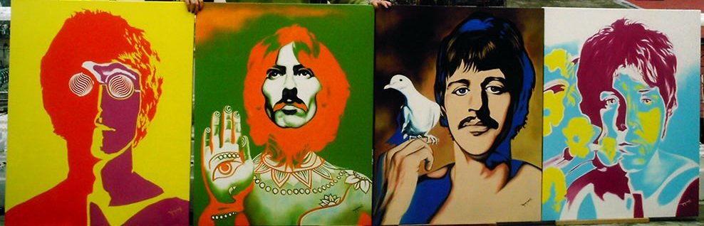 Psychedelic Beatles Tetraptych-Original High End Monroy