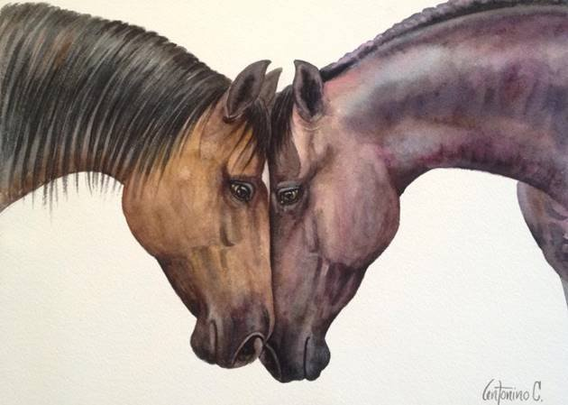 My Best Buddy-Watercolor on Archival Paper by Antonino