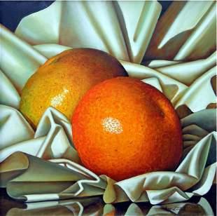Oranges on Linen-Oil on Canvas High End Zavaleta