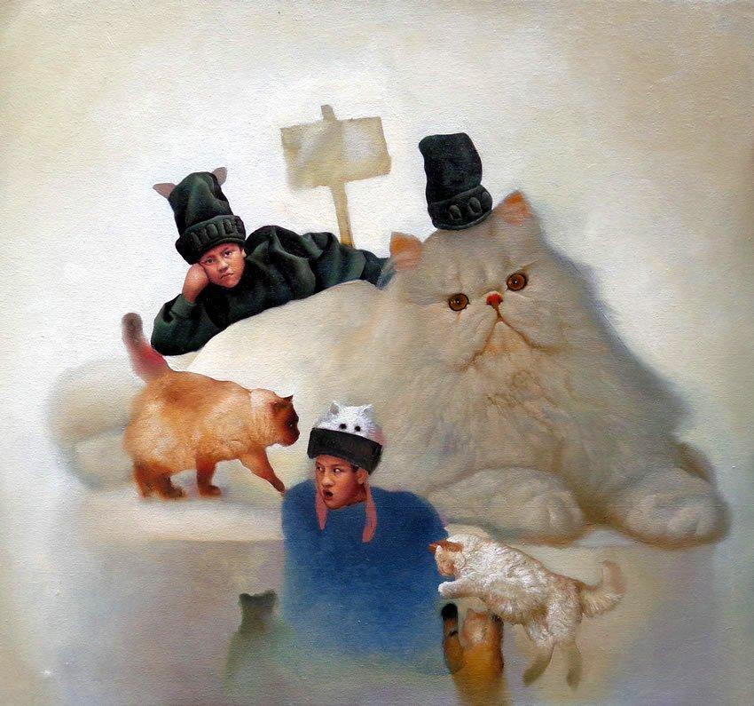 Feline Parade-Oil Original- Alberto Salazar