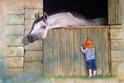 Baby In Orange Cap with Stallion-Original High End