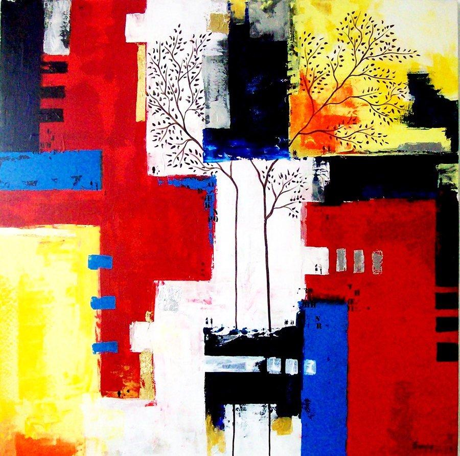 Urban Jungle-Acrylic on Canvas 35.5 x 35.5