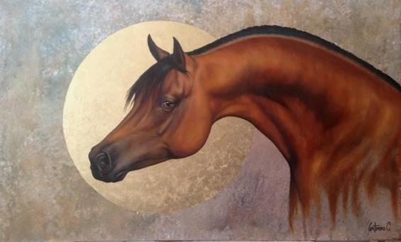 Brown Horse Sunset-Mixed Media Original Antonino