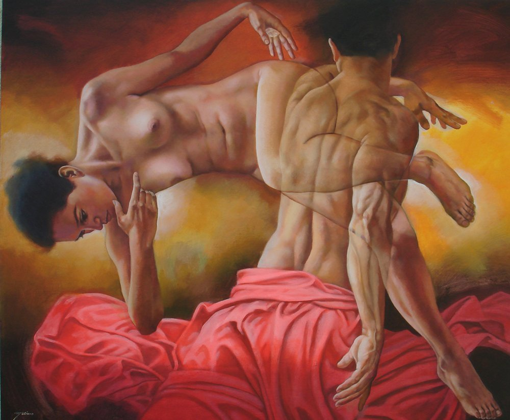 Fighting The Past-Acrylic on Canvas Original Rafael