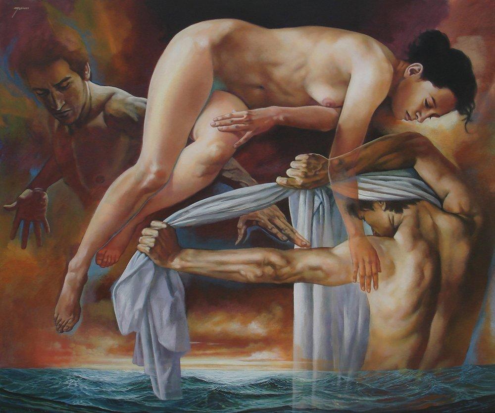Points of Encounter-Acrylic on Canvas Original Rafael