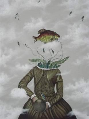Fish Head Maiden-Original Acrylic on canvas