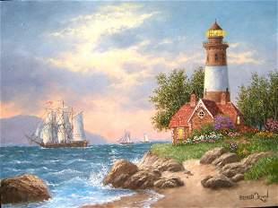 Louisburg Lighthouse-American Artist Dennis