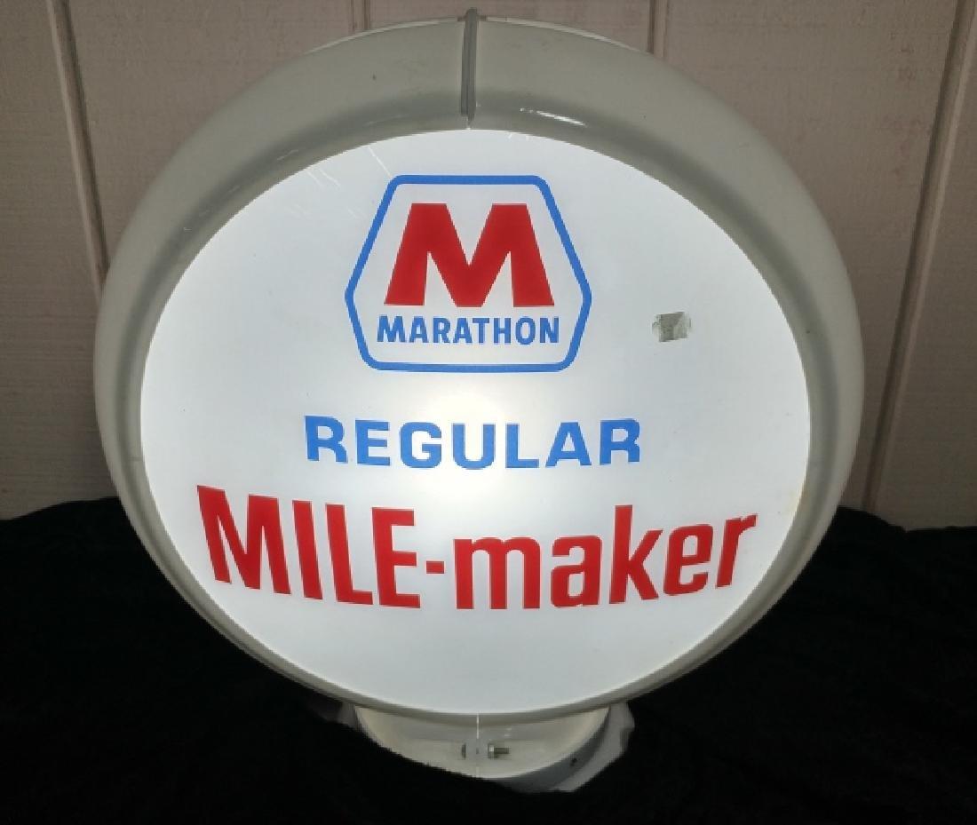"Marathon Mile-Maker Gasoline 13.5/"" Gas Pump Globe Lenses 1 Pair"