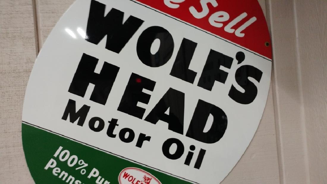 Wolf's Head Motor Oil Tin Sign - 2