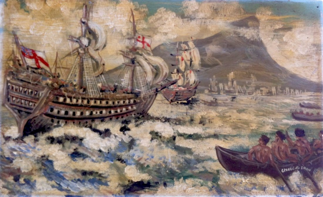 Painting On Wood Panel, British Galleon, G. P. Smith