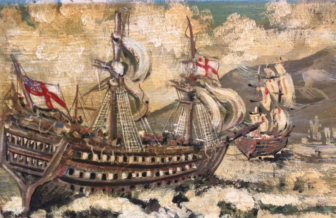 Painting On Wood Panel, British Galleon, G. P. Smith - 3