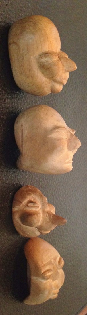 Japanese Carved Wood Noh Theater Masks - 2