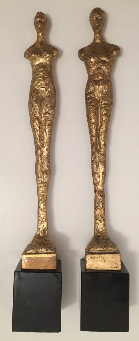Pair of Giacometti Style Gilt Bronze Male & Female, 21""