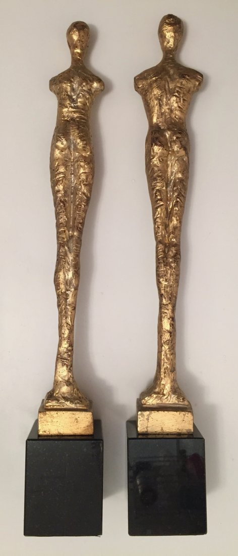 "Pair of Giacometti Style Gilt Bronze Male & Female, 21"" - 2"