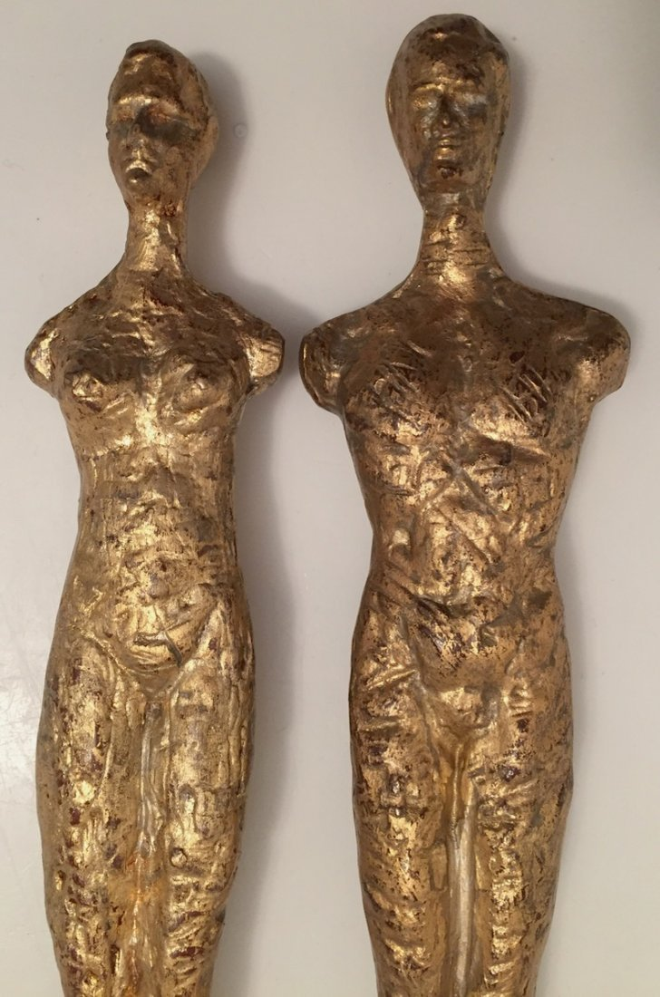 "Pair of Giacometti Style Gilt Bronze Male & Female, 21"" - 3"