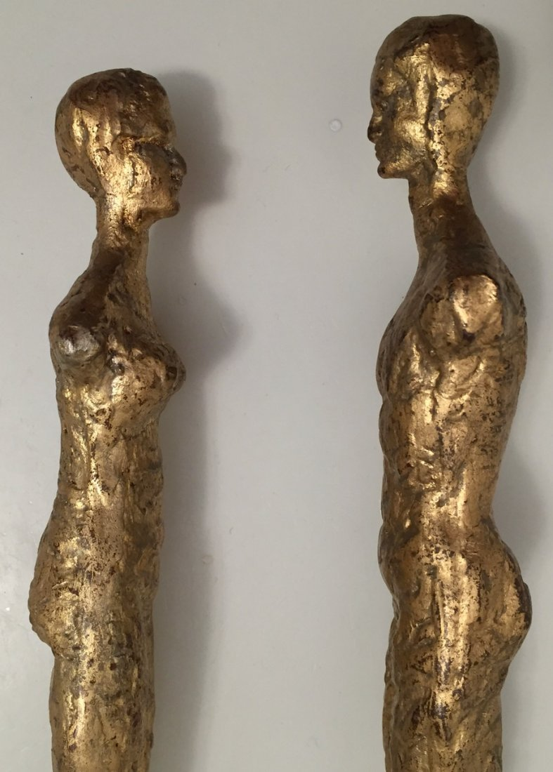 "Pair of Giacometti Style Gilt Bronze Male & Female, 21"" - 4"