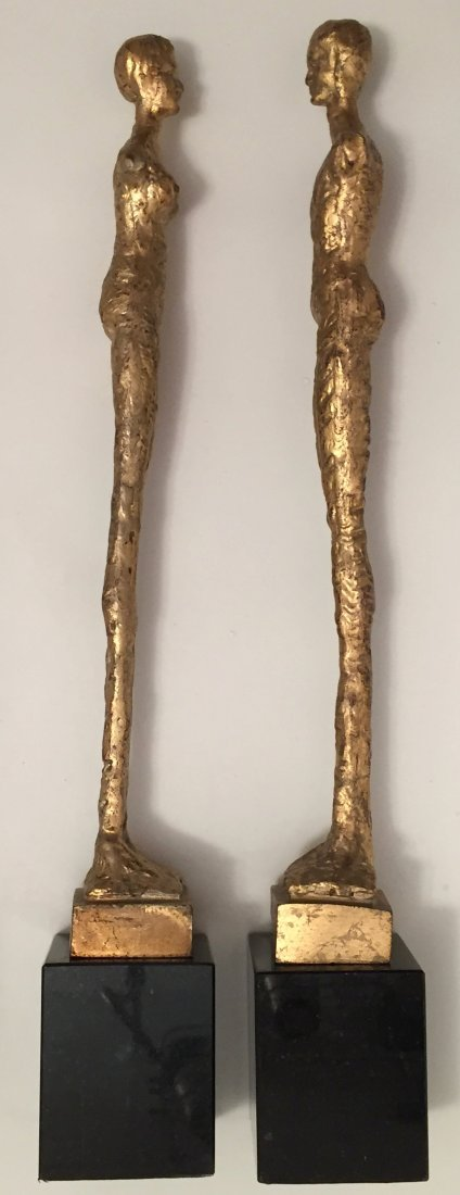 "Pair of Giacometti Style Gilt Bronze Male & Female, 21"" - 5"