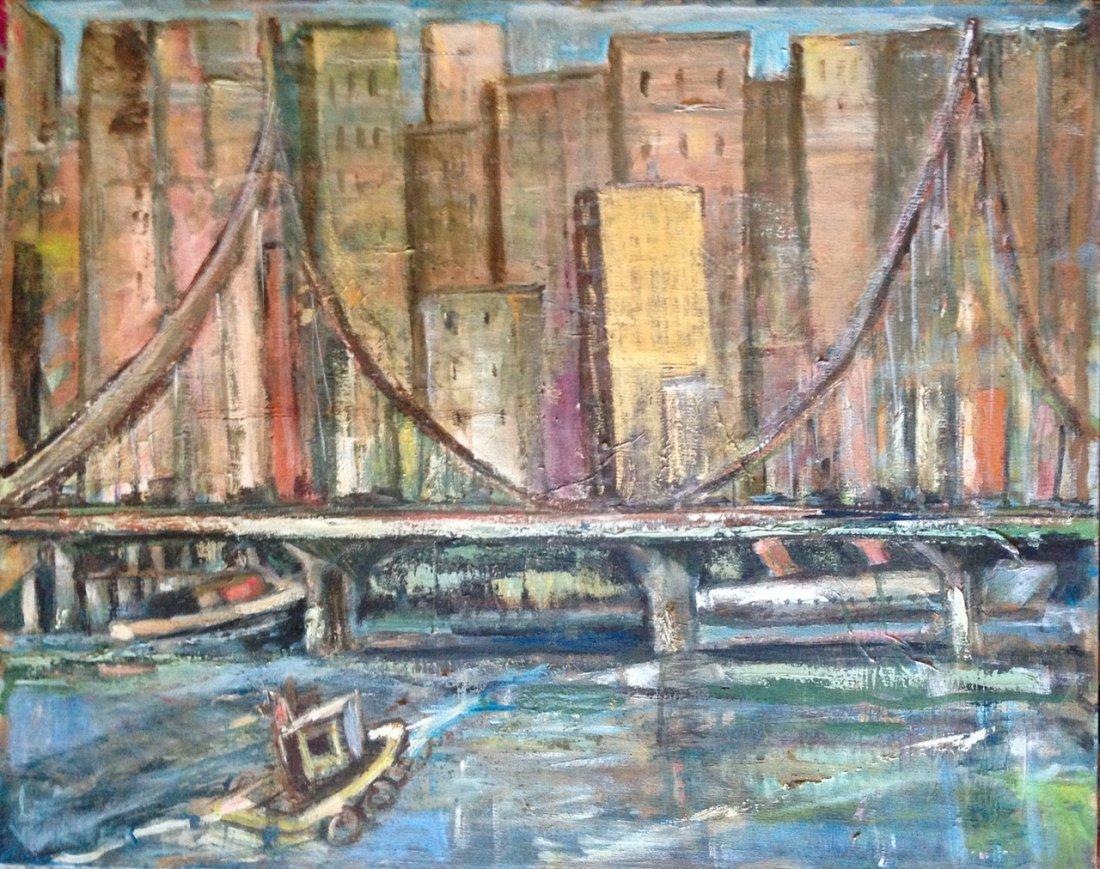 """Modernist Urban N.Y.C. Oil Painting """"East River View"""""""