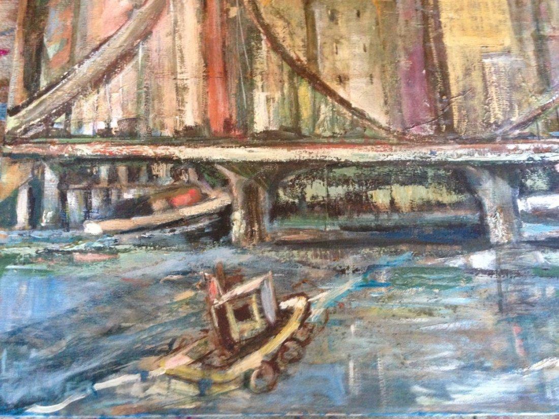 """Modernist Urban N.Y.C. Oil Painting """"East River View"""" - 2"""