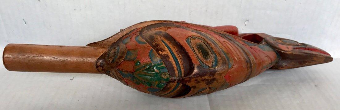 Northwest Coast Carved Polychrome Raven Rattle - 3