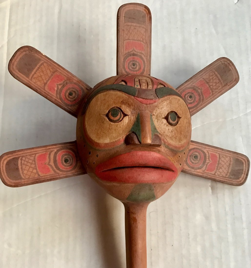 Northwest Coast Polychrome Dance Rattle - 4