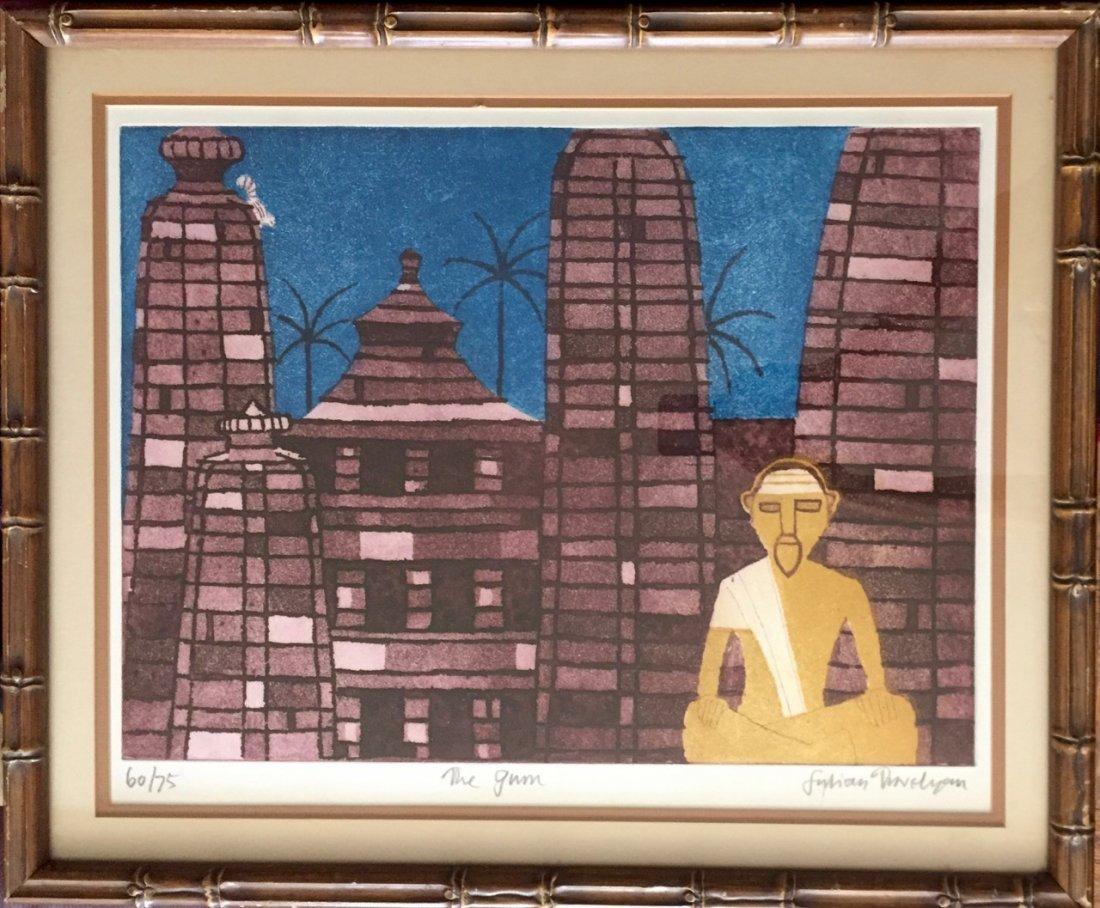 Modern Indian Aquatint Etching, The Guru, Signed