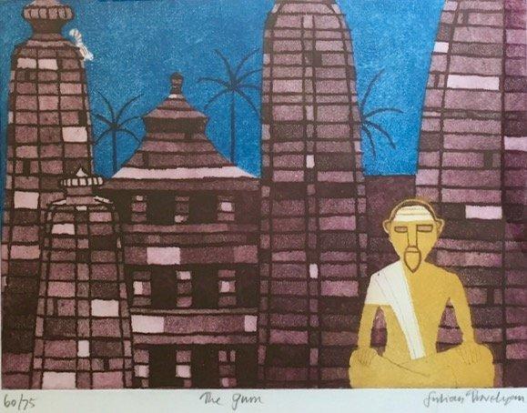 Modern Indian Aquatint Etching, The Guru, Signed - 2